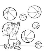 dora the explorer playing with balls