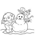 dora boots and snowman