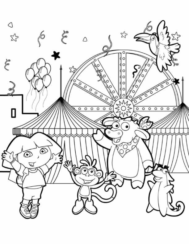 Nick Jr Princess Dora The Explorer Queen Royal Junior Picture And Her Friends Dancing Coloring Page Lots Of Pages