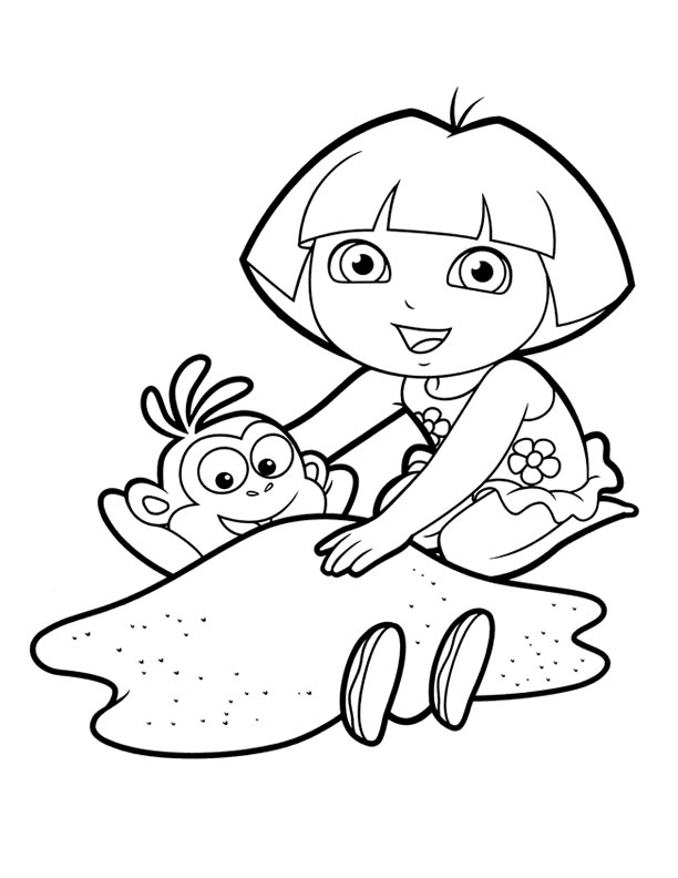 Dora Colouring Sheets - PDF Printable - Dora and Friends, Christmas ...