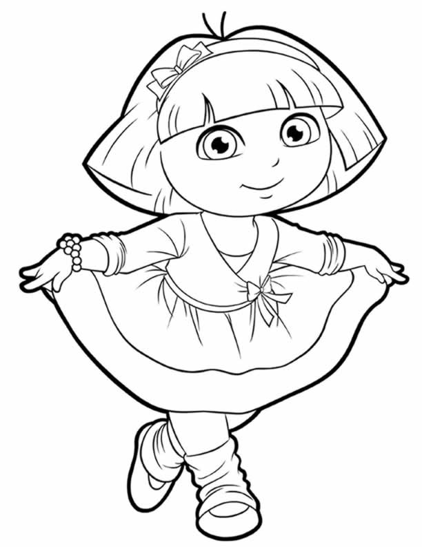 Dora Explorer Dancing Coloring Page
