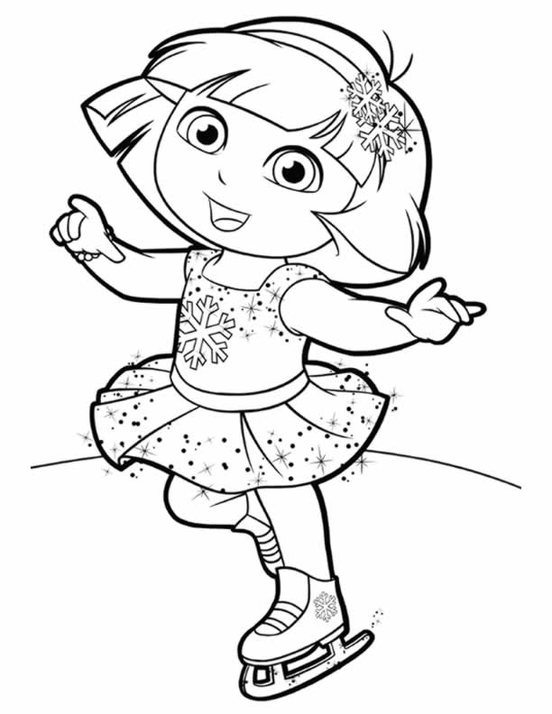 Dora coloring lots of dora coloring pages and printables for Ice skating coloring pages printable