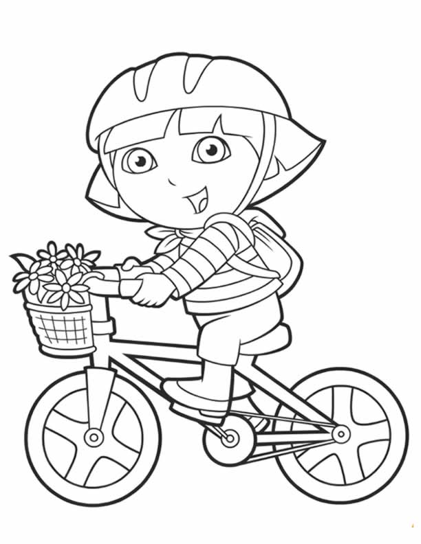 Dora coloring pages backpack diego boots swiper print for Bike riding coloring pages
