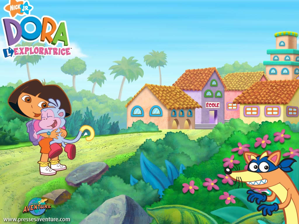 dora hugging books wallpaper image. © 2007 Viacom International Inc.